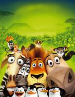 Madagascar 2 - Auf dem Weg nach Hause: Alex (2.v.r.), Gloria (r.), Marty (2.vl.), Melman (l.), die Pinguine (vorne) und die ffchen (hinten) ...  (2008) DREAMWORKS ANIMATION LLC. ALL RIGHTS RESERVED.